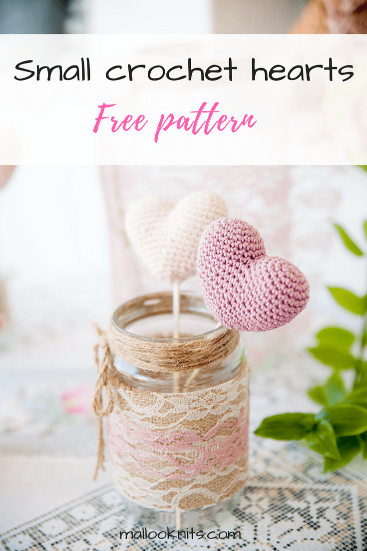 Crochet small hearts free pattern | wedding decoration