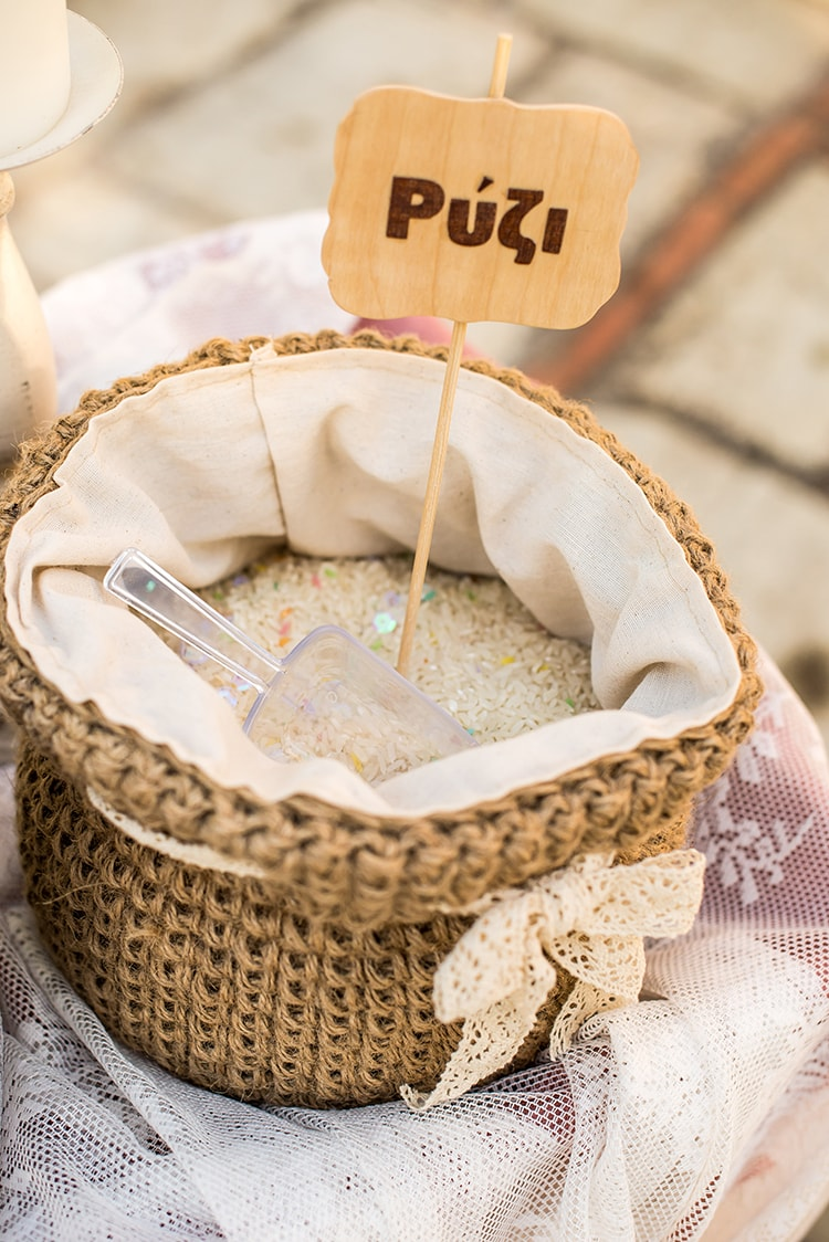 Crochet jute rice basket