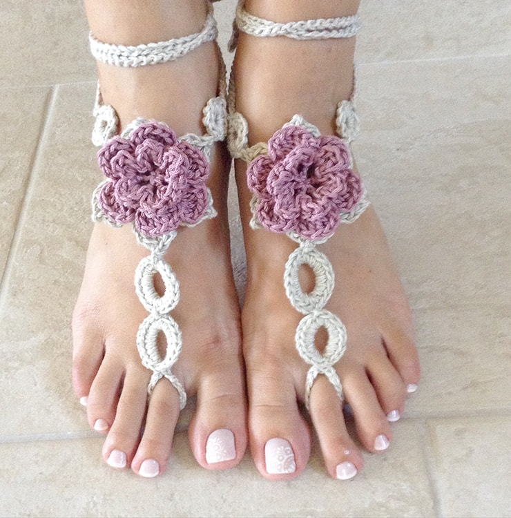 Crochet barefoot sandals, romantic wedding