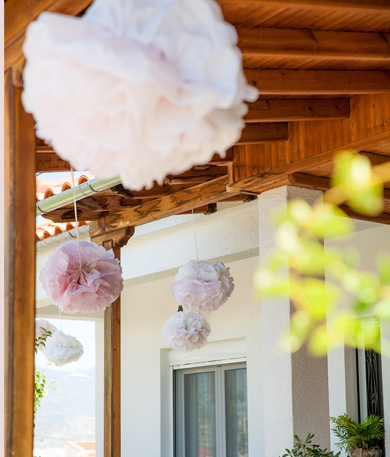 Wedding decor, paper pom poms