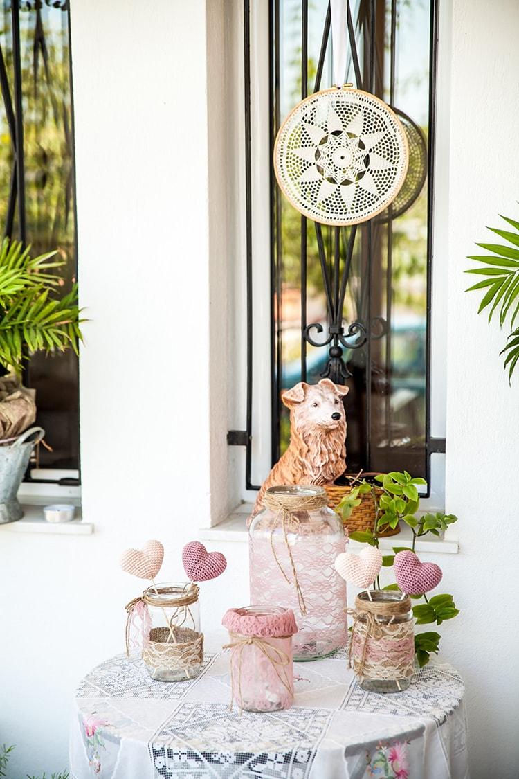 wedding decor, lace jars