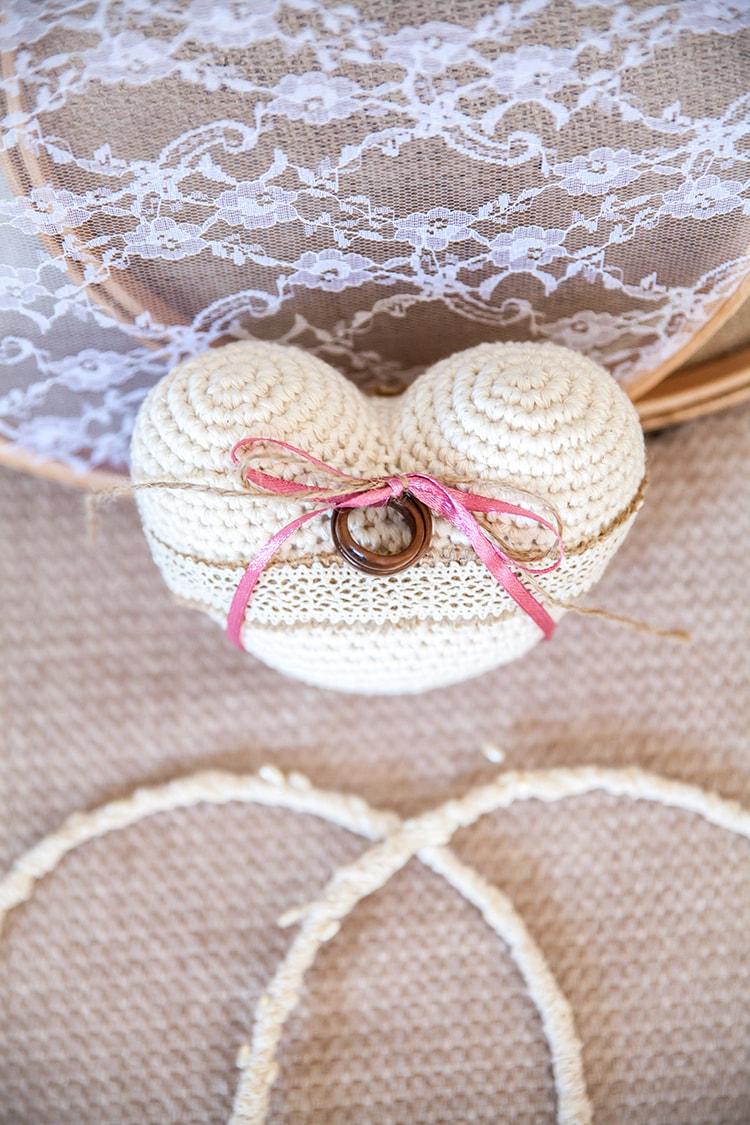 Crochet heart ring bearer