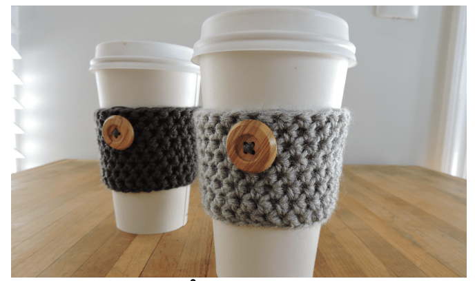 Coffee cozy free crochet pattern