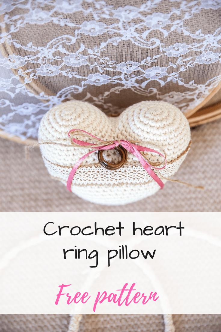 Crochet heart free pattern | wedding ring pillow