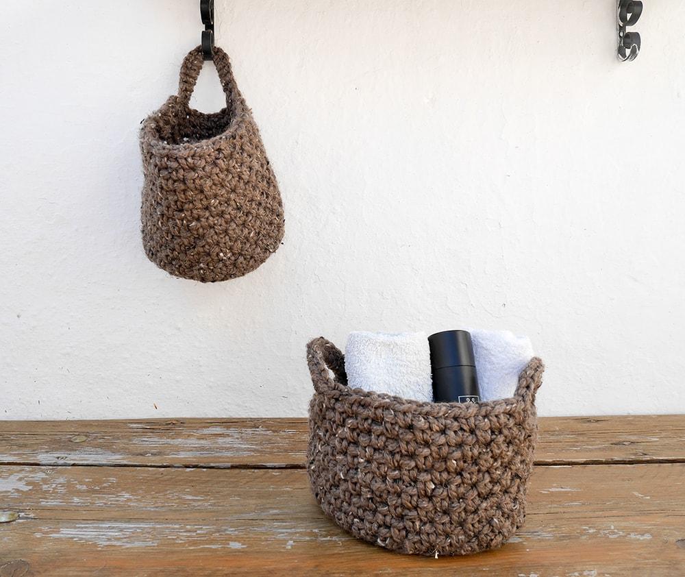 Crochet hanging basket | bathroom storage | farmhouse decor