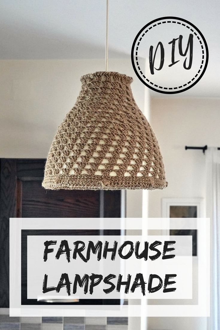 DIY farmhouse lampshade | crochet farmhouse lampshade | Ikea hacks | Ikea makeover | melodi lamp hack