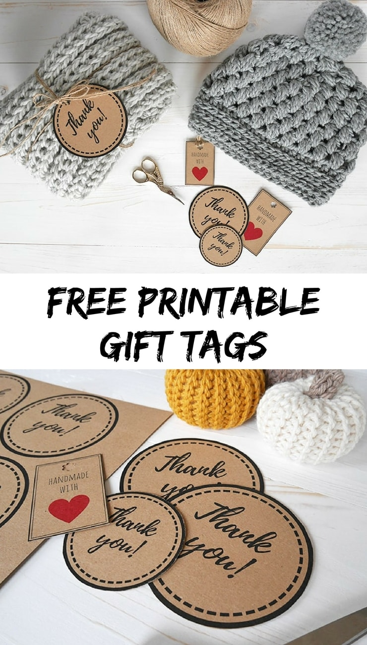 Free printable gift tags | Free download tags for your crochet handmade items | handmade gift tags