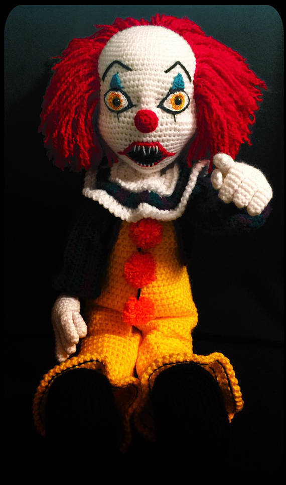 Creepy clown crochet amigurumi doll