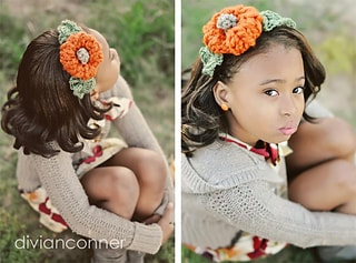 Pumpkin headband free crochet pattern