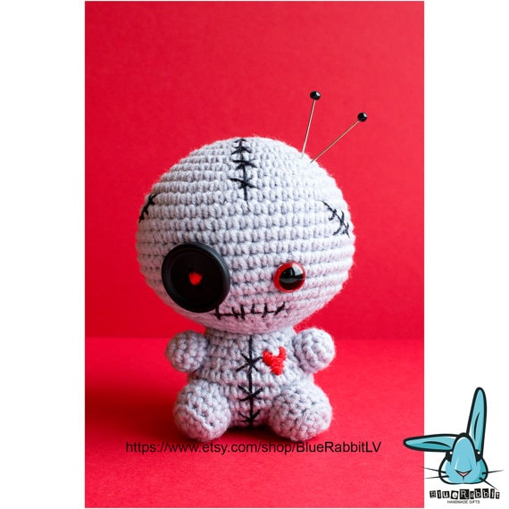 Crochet zombie doll pincushion