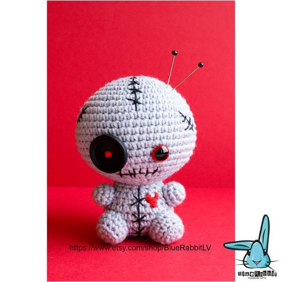 Crochet zombie doll pincushion