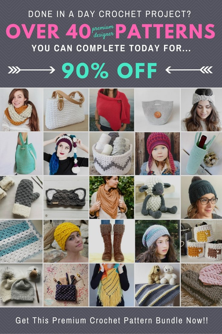 "Ultimate crochet pattern super bundle. Now through December 1st you can get all 40+ ""Done In A Day"" crochet patterns worth over $200 for over 90% off."