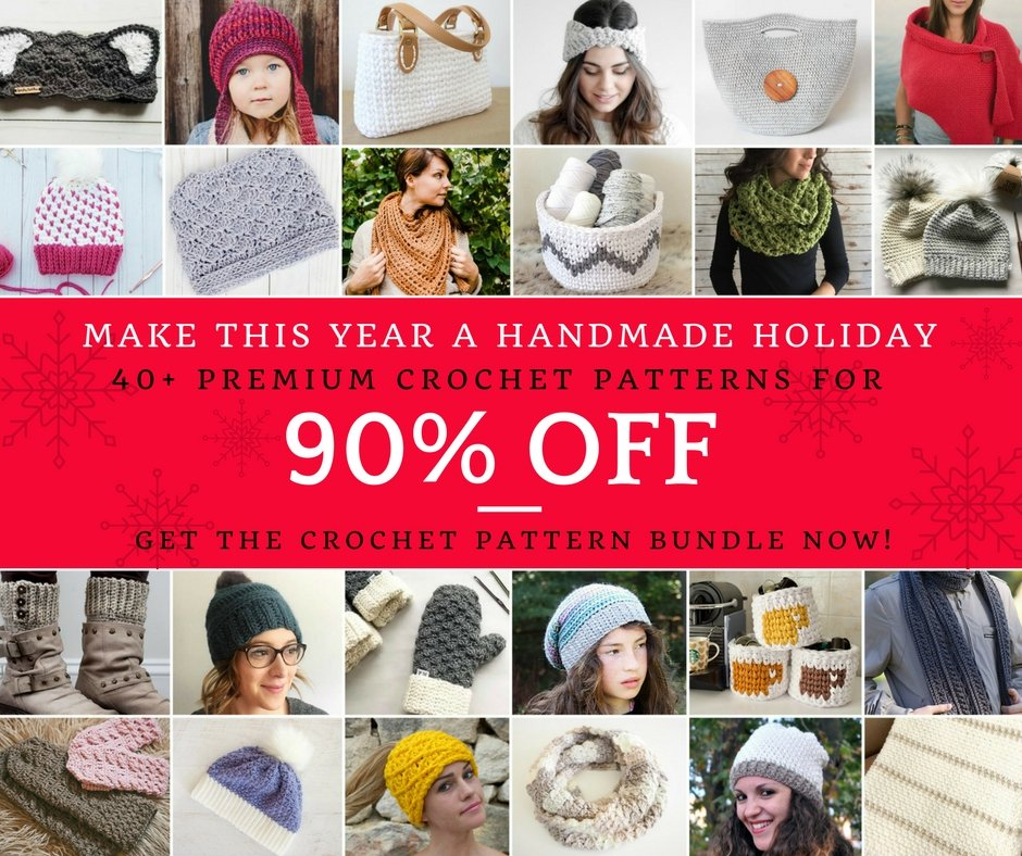 "Now through December 1st you can get all 40+ ""Done In A Day"" crochet patterns worth over $200 for over 90% off."