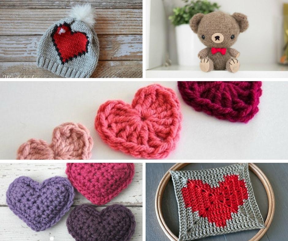 Valentine's day free crochet pattern roundup.