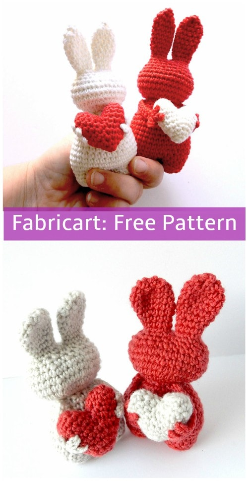 Crochet Valentine Heart Bunny. Part of a free crochet roundup on mallooknits.com.