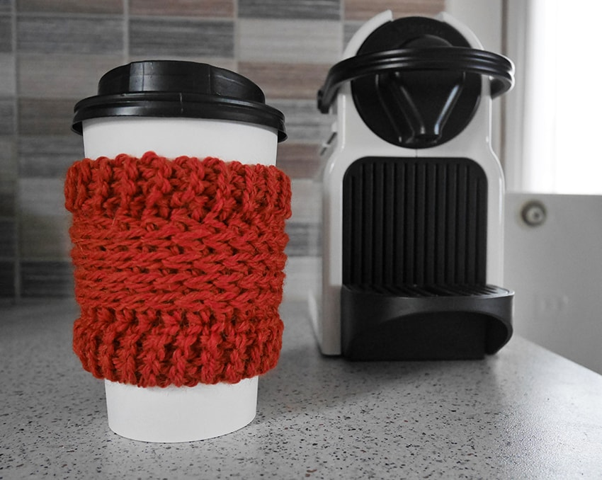 Crochet coffee cup cozy free pattern