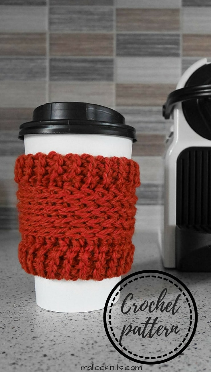 Make this crochet coffee cup cozy hold your take away coffee in style! Great project for beginners, free crochet pattern cup cozy.