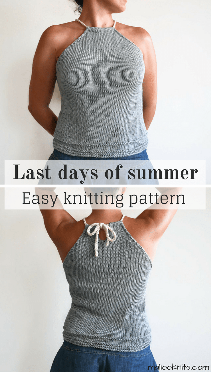 Easy knitting pattern for a summer top. Great even for beginner knitters. Simple knit summer top for women.