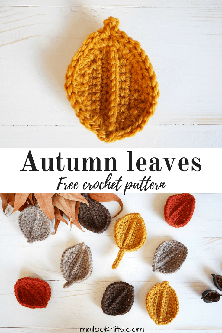 Free crochet autumn leaves pattern. Easy fall crochet pattern that will take you just a few minutes to complete. Great stash buster project, also.