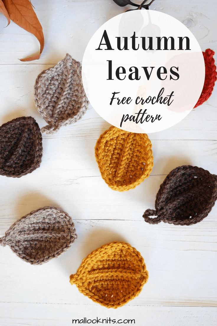 Make these cute crochet autumn leaves with the free pattern to fill your house. Great fall crochet project. Easy and fun crochet pattern.