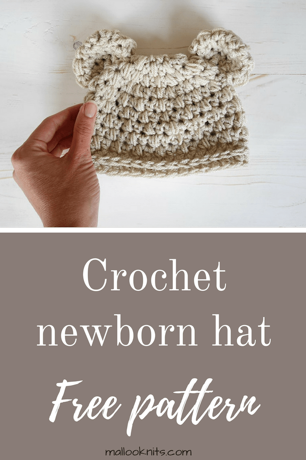 Crochet bear hat pattern for newborn baby. Easy crochet hat pattern with bear ears. #crochetnewbornhat #crochetbearhat #bearhatcrochetpattern