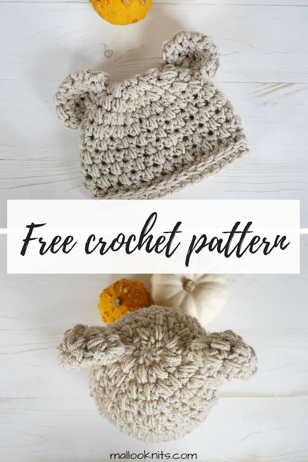 Easy crochet newborn hat pattern. This crochet hat pattern is very easy to make for your tiny newborn or charity donations. #crochetnewbornhat #newbornhatcrochetpattern #crochethatpatternfree