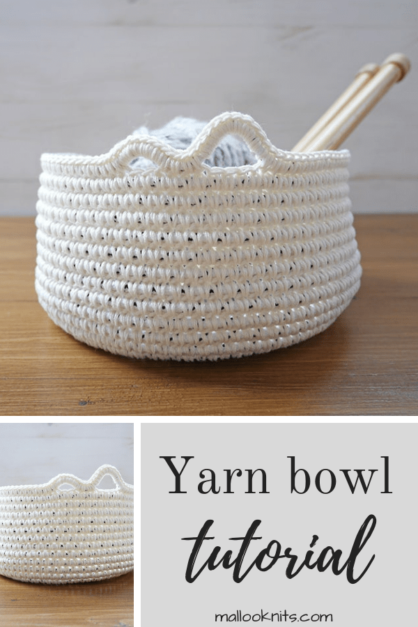 Easy diy tutorial for a yarn bowl using everyday items that we all carry in our homes. Free crochet yarn bowl pattern. #yarnbowl #crochettutorial #diyyarnbowl