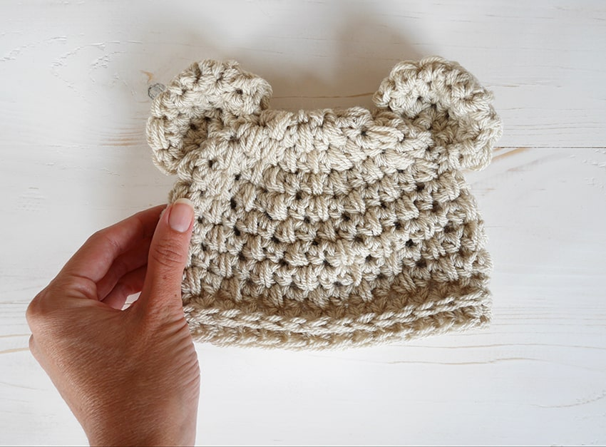 Bear ears crochet newborn hat