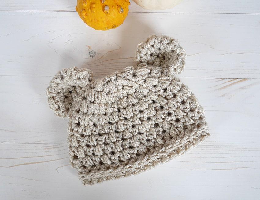Baby bear crochet newborn hat