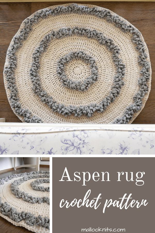 Beginner friendly rug crochet pattern. Make this cozy rug for your living room or nursery to dress up those cold winter nights. #rugcrochetpattern #crochetrugpattern #crochetrug