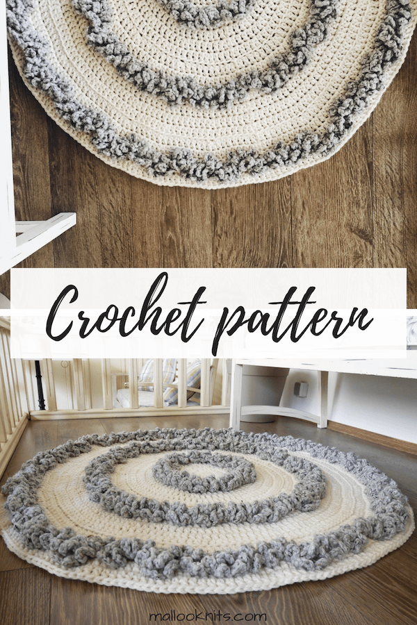 Easy crochet rug pattern for a big, cozy, area rug. Bring out that hygge feeling with this rug crochet pattern. #crochetrug #crochetpatternrug #crochetrugpattern