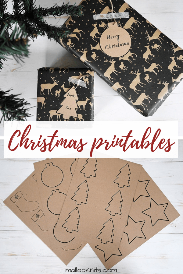 Christmas free printables to hang on your presents as a special final touch. Write the recipient's name or just a wish and put them under your tree! #christmasfreeprintables #christmasgifttags #thankyoucard #freeprintable