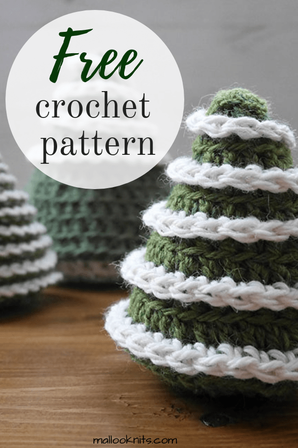 Easy crochet christmas tree pattern. Make your own christmas ornaments in 2 sizes and 2 different versions. #crochetchristmastreepattern #freecrochetpattern #crochetornament #crochetchristmasornament