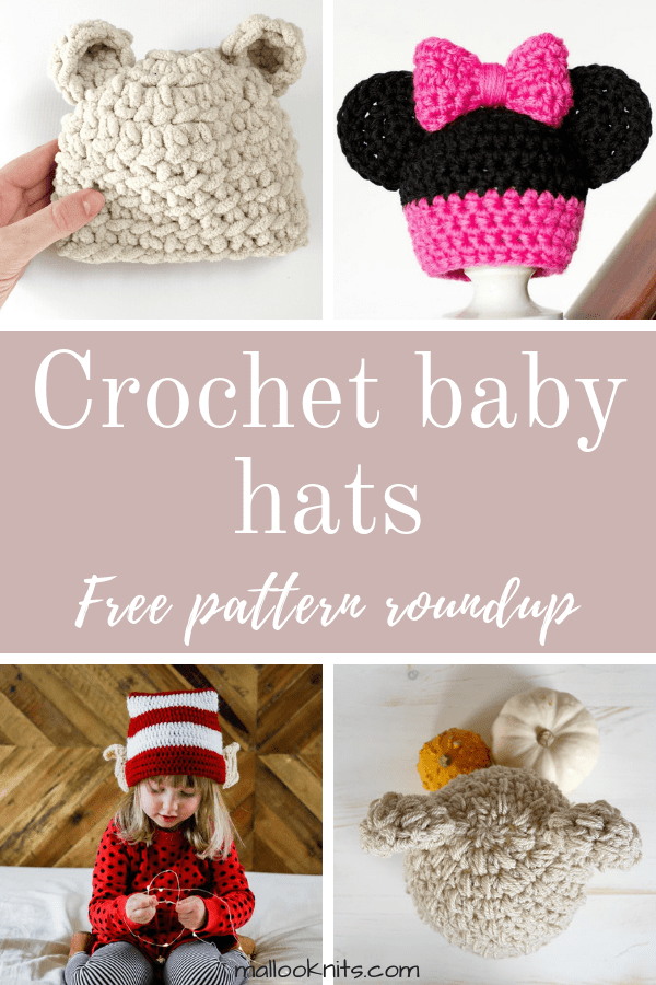 Crochet baby hats free pattern roundup. This is day 5 of the 7 days of freebies series.