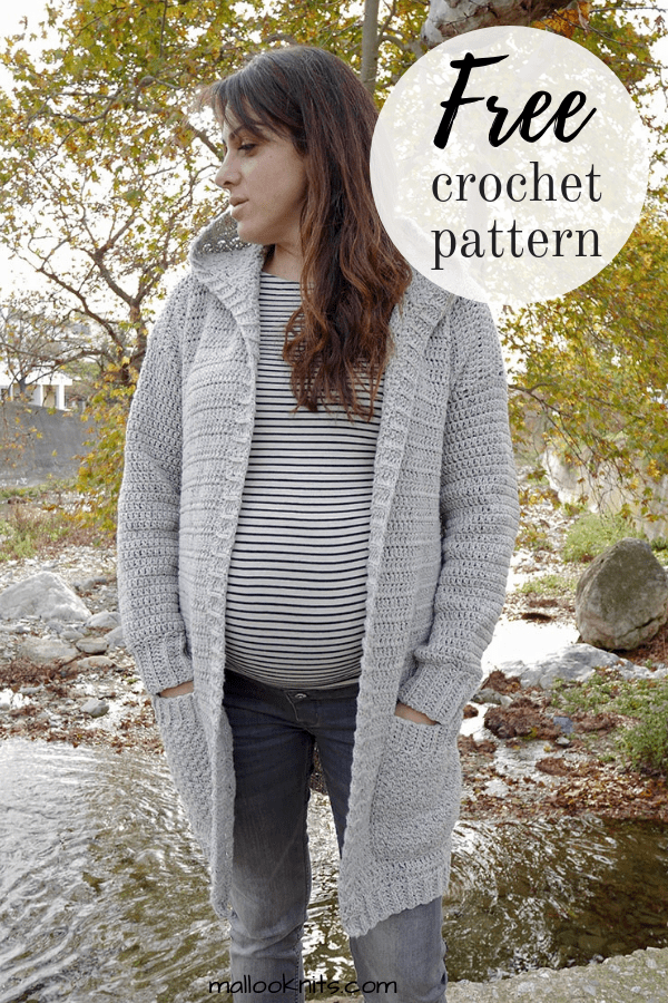 Make this easy crochet hooded cardigan with this free pattern to wear every day! #crochetcardigan #freecrochetpattern #crochethoodedcardi