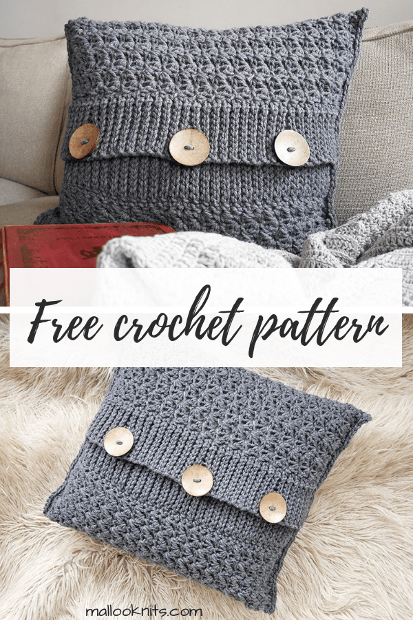 Easy, quick and free crochet pillow pattern. Make this decorative crochet pillow in just an afternoon or two. #crochetpillowpattern #decorativecrochetpillow #freecrochetpattern