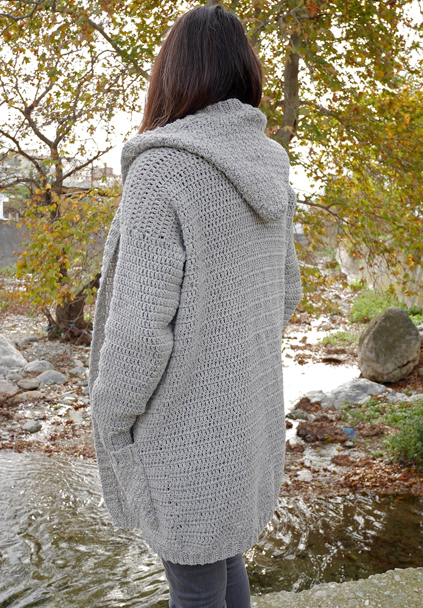 Crochet hooded cardigan with pockets free pattern