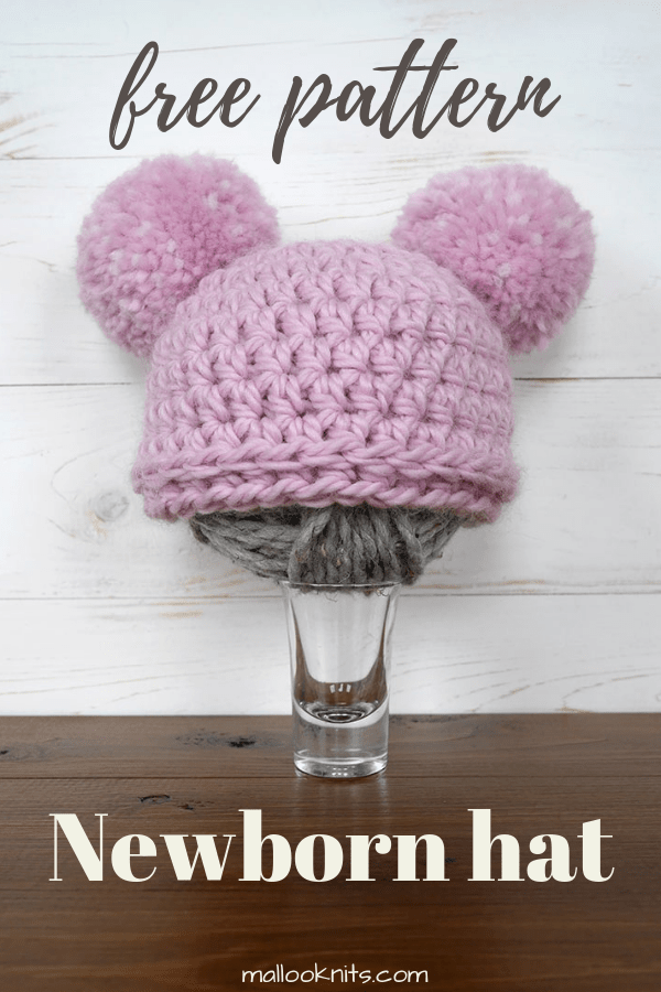 Cute and easy beginner crochet newborn hat. This hat only uses one stitch and it is so tiny that you can make it in a matter of minutes. #crochetnewbornhat #hatwithpompom