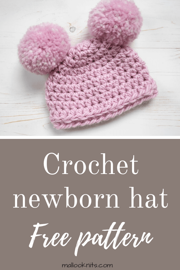 Easy crochet newborn hat, suitable for beginners. #crochetnewbornhat