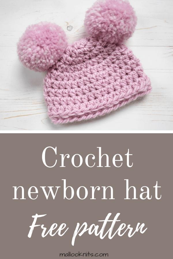 Easy crochet newborn hat, suitable for beginners. #crochetnewbornhat