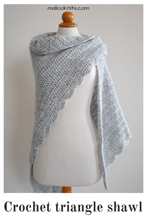 Beginner triangle shawl free crochet pattern - mallooknits com