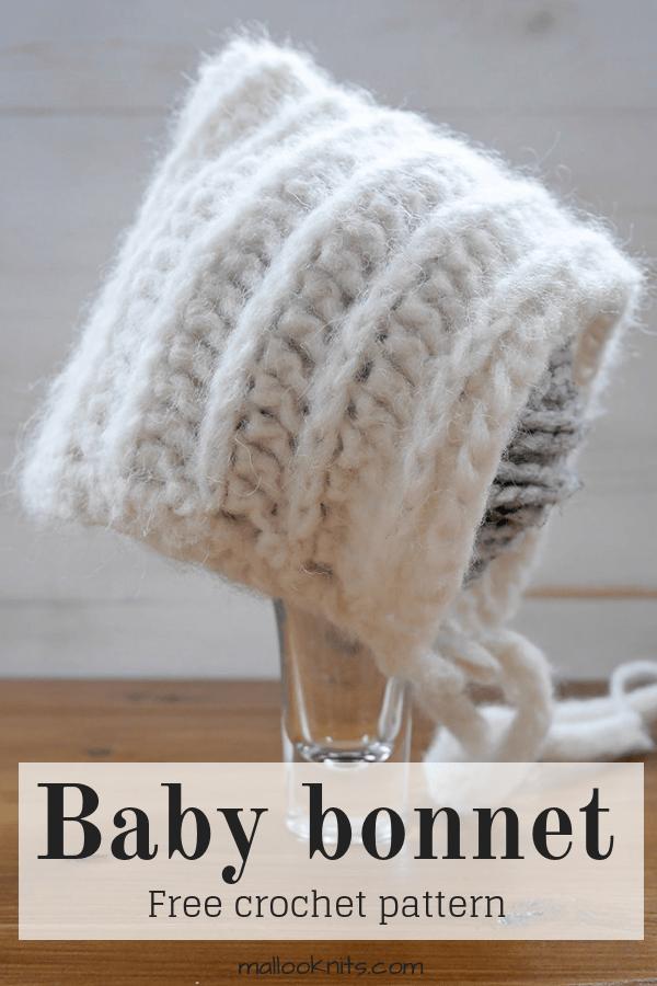 Baby bonnet free crochet pattern. #babybonnet #crochetbabybinnet