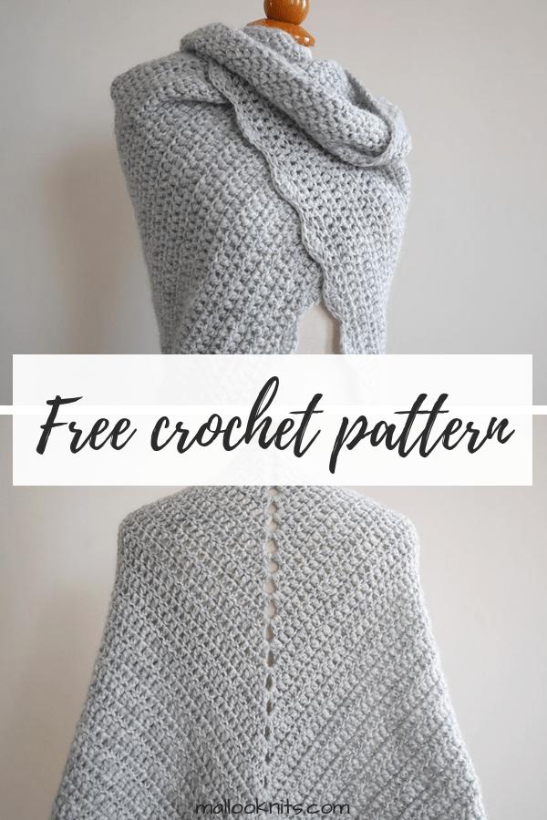 Beginner triangle shawl free crochet pattern. Easy crochet shawl pattern.