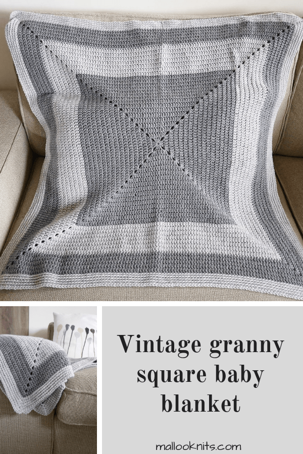 Easy crochet granny square baby blanket pattern. Free crochet baby blanket pattern.