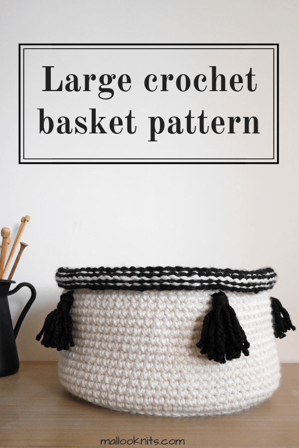 Easy large crochet basket pattern. Make this extra large basket and add style to your nursery or living room.