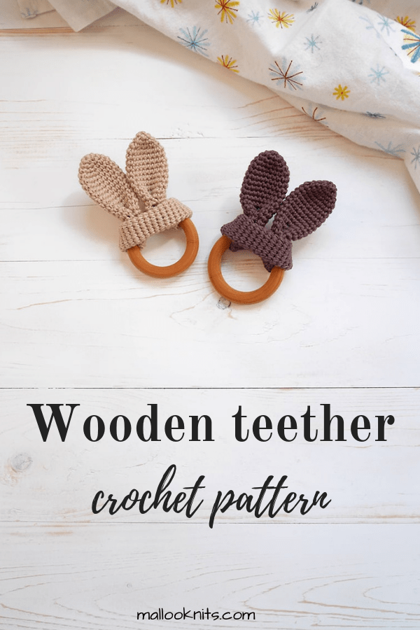 Easy crochet wooden teether for the baby to chew on safely. Make this cute bunny wooden teether in a matter of minutes with some cotton yarn and a wooden teething ring. #woodenteether #crochetteethingtoy #woodenteethingring