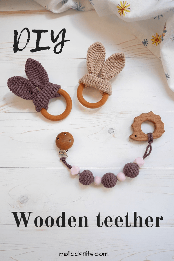 DIY wooden teething ring, bunny wooden teether and crochet beads tutorial. #woodenteethingring #crochetbeads #bunnyteether