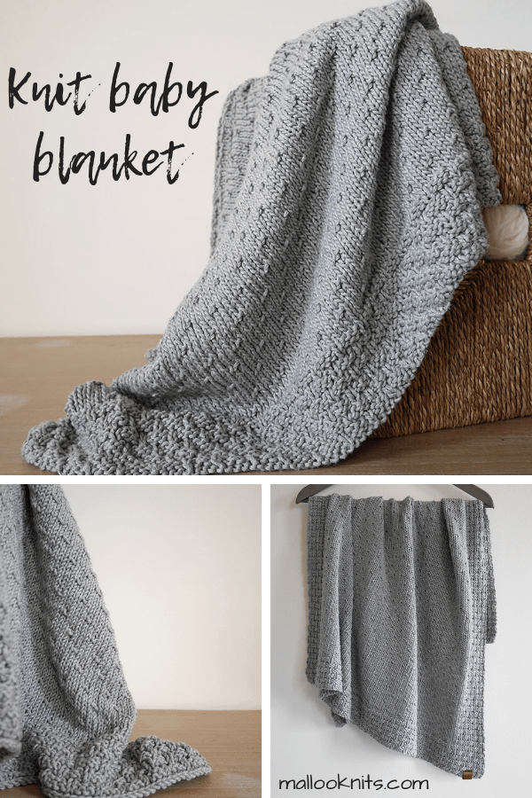 Easy knit baby blanket pattern. Two sizes included: baby and toddler. #knitbabyblanket #babyshowergift #toddlerblanket