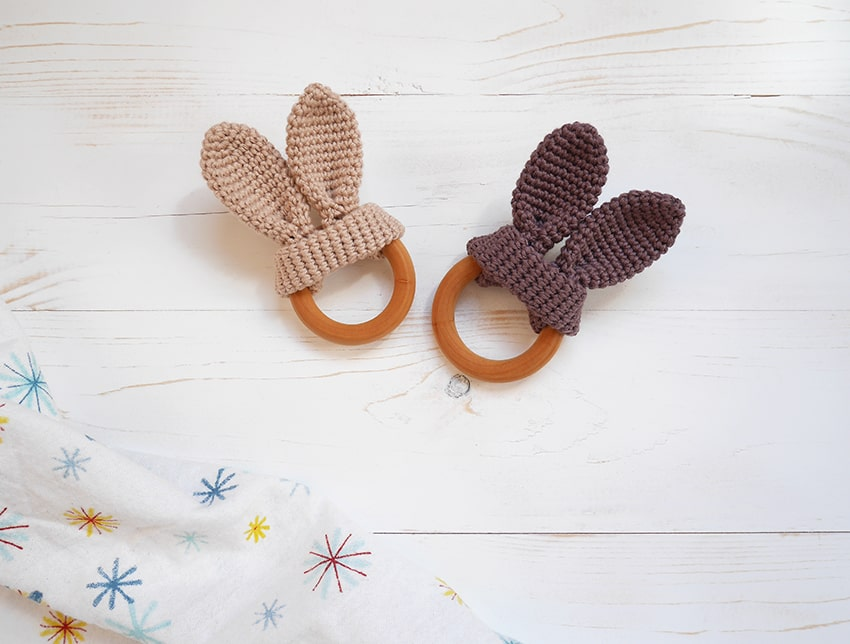 Teethers Strong-Willed New Baby Natural Wooden Teether Crochet Bunny Ears Teething Ring Chewing Toy????