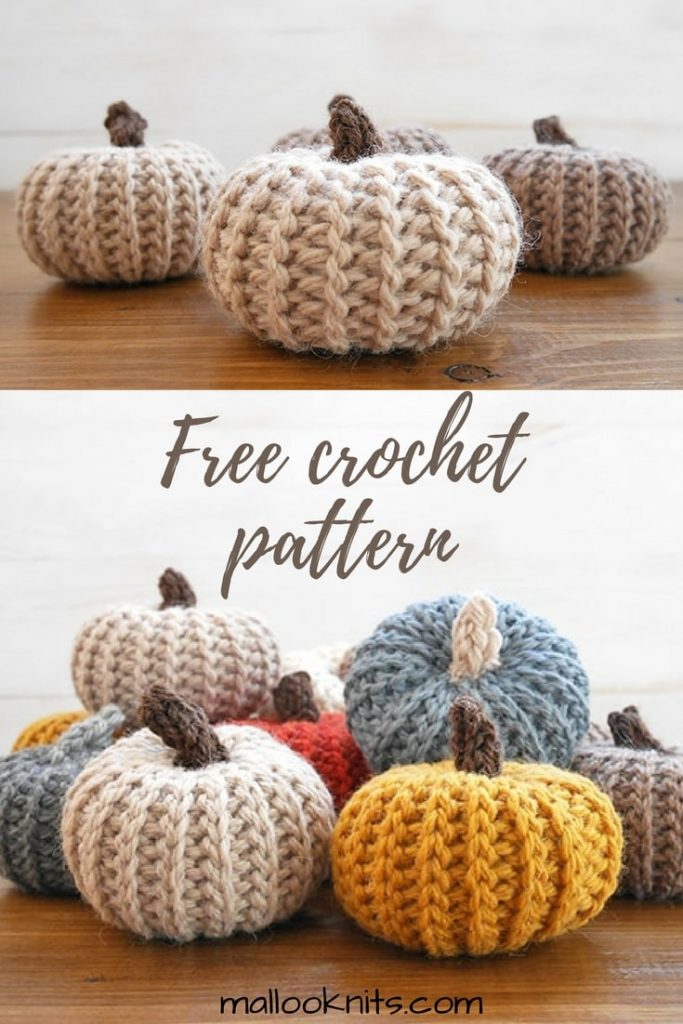 Free crochet pumpkins pattern! Easy crochet pattern for pumpkins that look knit. Great fall home decor project, make a bunch of them in an afternoon.